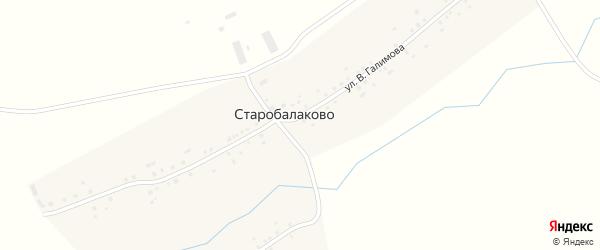 Улица В.Галимова на карте села Старобалаково с номерами домов