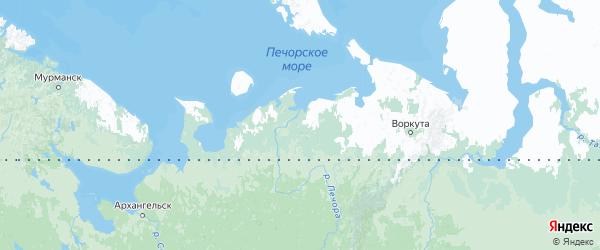 Карта Ненецкого автономного округа с городами и районами