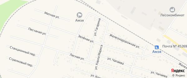 Улица Гагарина на карте села Амзи с номерами домов