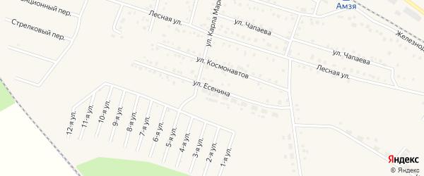 Улица Есенина на карте села Амзи с номерами домов