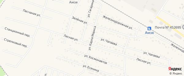 Улица К.Маркса на карте села Амзи с номерами домов