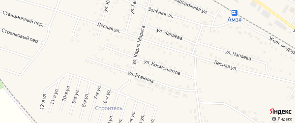 Улица Космонавтов на карте села Амзи с номерами домов
