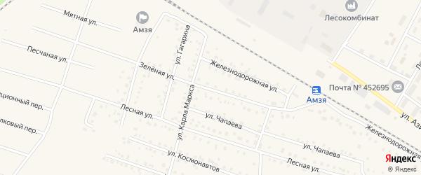 Зеленая улица на карте села Амзи с номерами домов