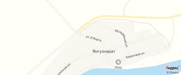 Улица 8 Марта на карте деревни Янгузнарата с номерами домов