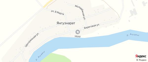 Береговая улица на карте деревни Янгузнарата с номерами домов