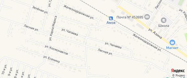 Улица Чапаева на карте села Амзи с номерами домов
