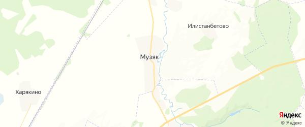 Карта Музяковского сельсовета республики Башкортостан с районами, улицами и номерами домов