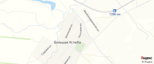 Карта села Большей Устюбы в Башкортостане с улицами и номерами домов