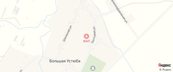 Железнодорожная улица на карте села Большей Устюбы с номерами домов