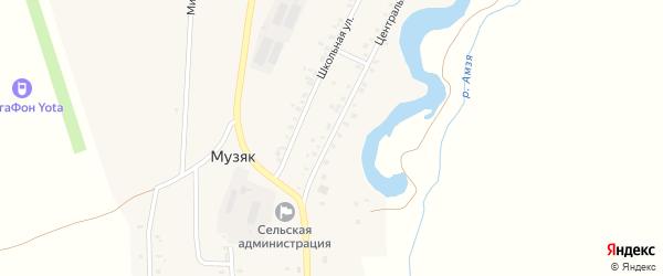 Центральная улица на карте села Музяка с номерами домов