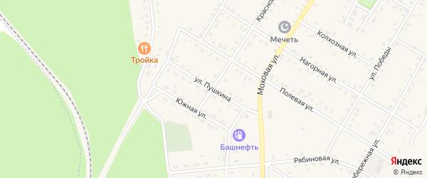 Улица Пушкина на карте села Амзи с номерами домов