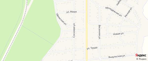 Сосновый переулок на карте села Амзи с номерами домов