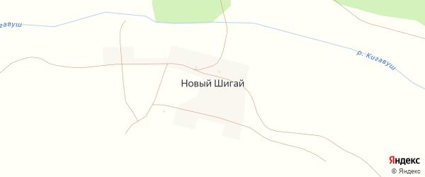 Центральная улица на карте деревни Нового Шигая с номерами домов