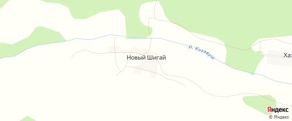 Карта деревни Нового Шигая в Башкортостане с улицами и номерами домов