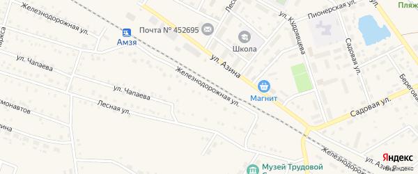 Железнодорожная улица на карте села Амзи с номерами домов