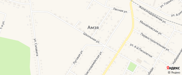 Школьная улица на карте села Амзи с номерами домов