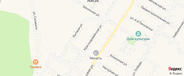 Красноармейская улица на карте села Амзи с номерами домов