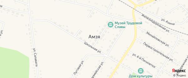 Красноармейский переулок на карте села Амзи с номерами домов