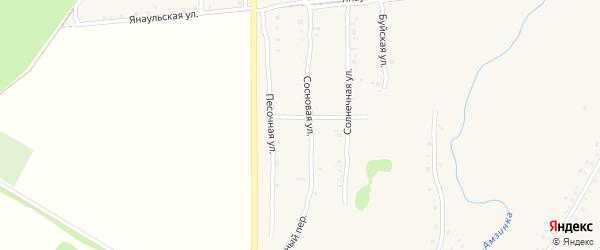 Сосновая улица на карте села Амзи с номерами домов