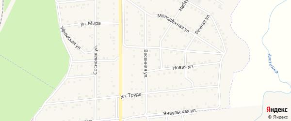 Весенняя улица на карте села Амзи с номерами домов