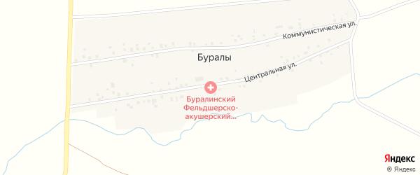 Центральная улица на карте деревни Буралы с номерами домов