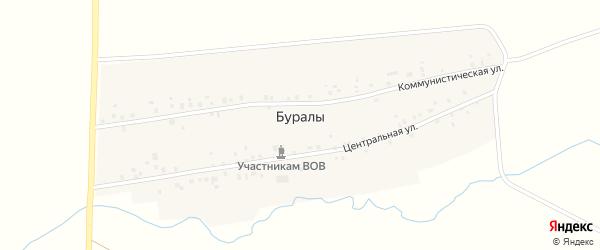 Коммунистическая улица на карте деревни Буралы с номерами домов