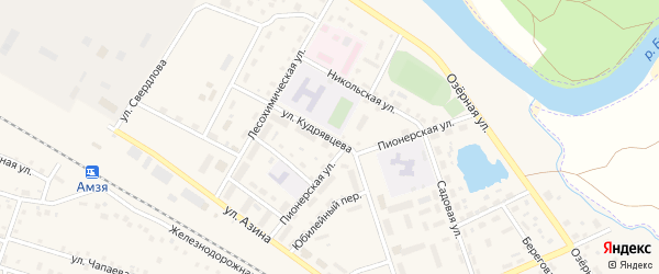 Улица Кудрявцева на карте села Амзи с номерами домов