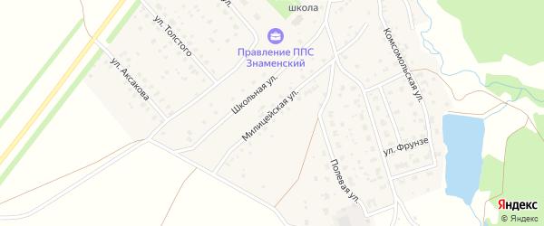 Милицейская улица на карте села Знаменки с номерами домов
