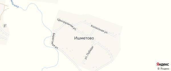 Центральная улица на карте деревни Ишметово с номерами домов
