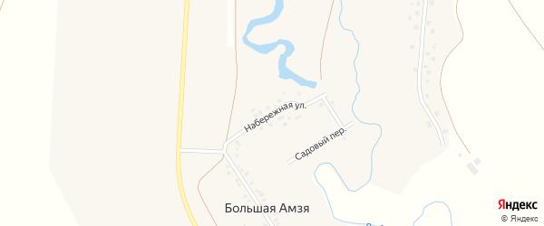 Набережная улица на карте деревни Большей Амзи с номерами домов