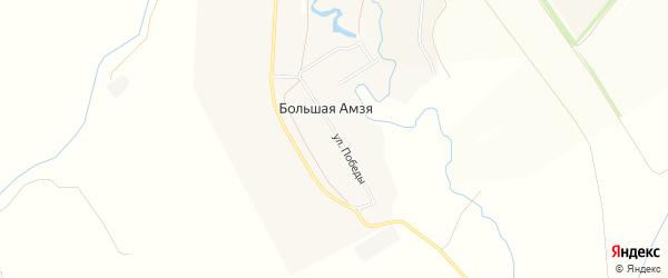 Карта деревни Большей Амзи в Башкортостане с улицами и номерами домов