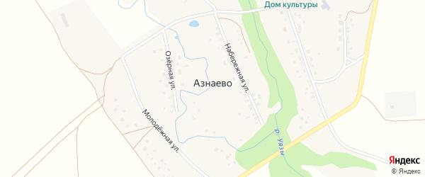 Набережная улица на карте села Азнаево с номерами домов