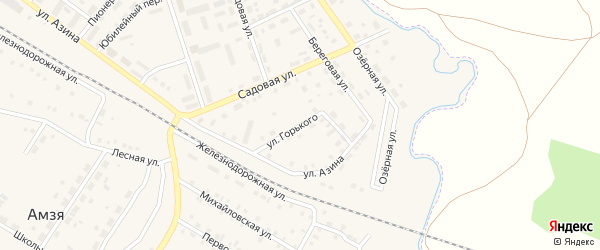 Улица М.Горького на карте села Амзи с номерами домов