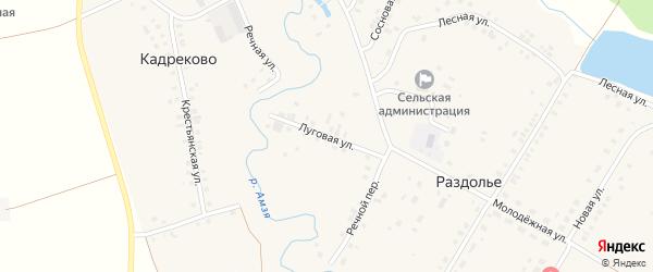 Луговая улица на карте деревни Раздолья с номерами домов
