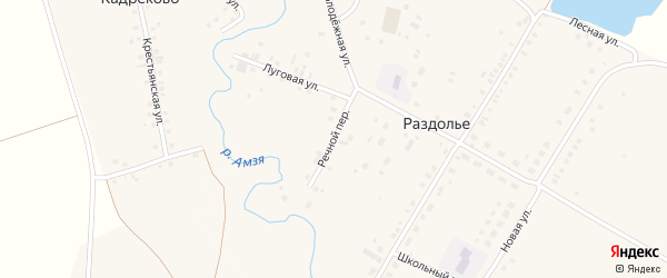 Речной переулок на карте деревни Раздолья с номерами домов