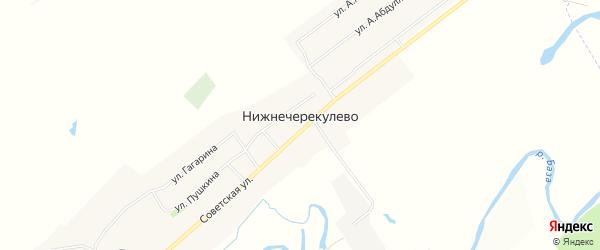 Карта села Нижнечерекулево в Башкортостане с улицами и номерами домов