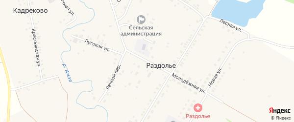 Молодежная улица на карте деревни Раздолья с номерами домов