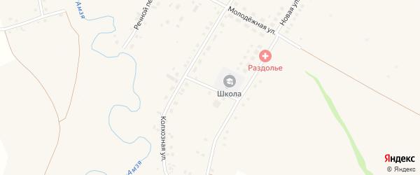 Школьный переулок на карте деревни Раздолья с номерами домов