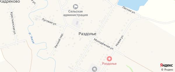 Полевой переулок на карте деревни Раздолья с номерами домов