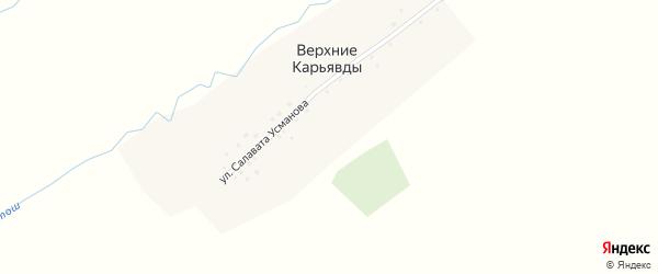 Улица Салавата Усманова на карте села Верхние Карьявды с номерами домов