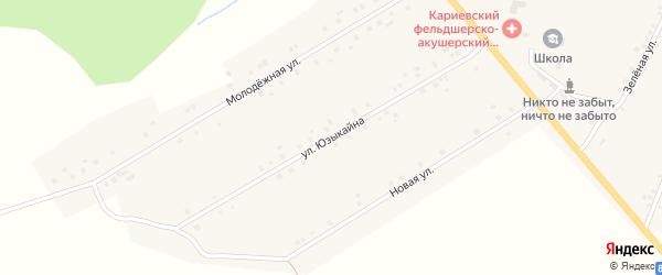 Улица Юзыкайна на карте села Кариево с номерами домов