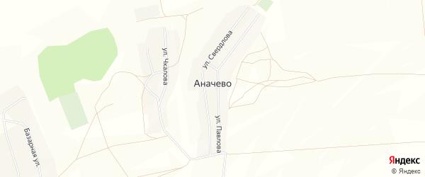Карта деревни Аначево в Башкортостане с улицами и номерами домов