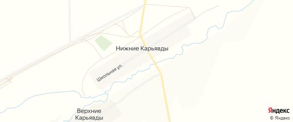 Карта села Нижние Карьявды в Башкортостане с улицами и номерами домов