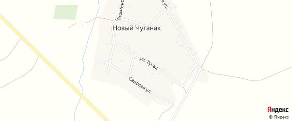 Тукая улица на карте деревни Нового Чуганака с номерами домов