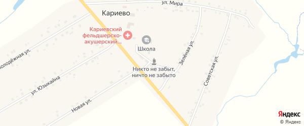 Школьная улица на карте села Кариево с номерами домов