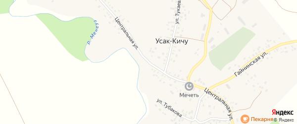 Центральная улица на карте села Усак-Кичу с номерами домов