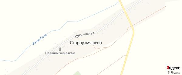 Цветочная улица на карте села Староузмяшево с номерами домов