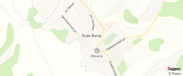 Карта села Усак-Кичу в Башкортостане с улицами и номерами домов