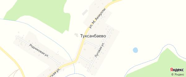 Улица М.Акмуллы на карте деревни Туксанбаево с номерами домов