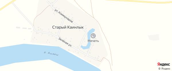 Зеленая улица на карте деревни Старого Каинлыка с номерами домов